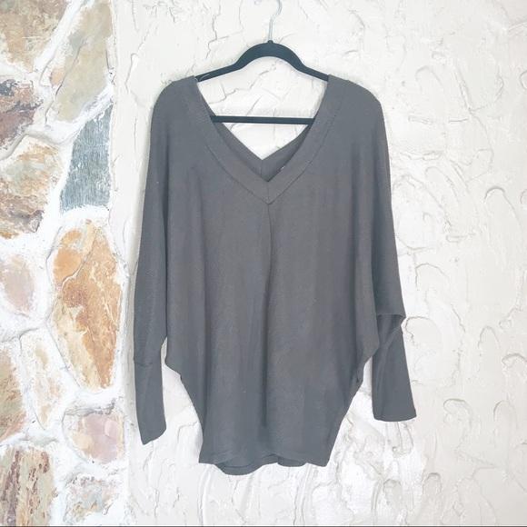 Sweaters - Olive Green Oversized Dolman Sleeve Sweater